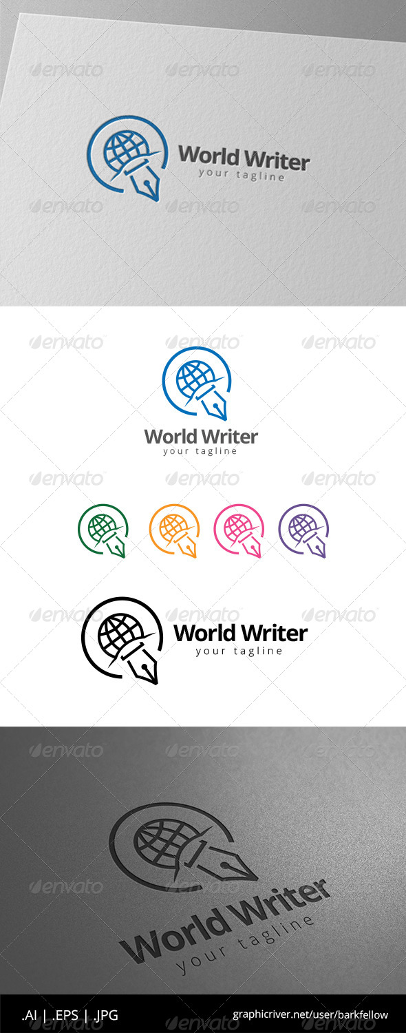 GraphicRiver World Pers Writer Blogger Logo 8591941