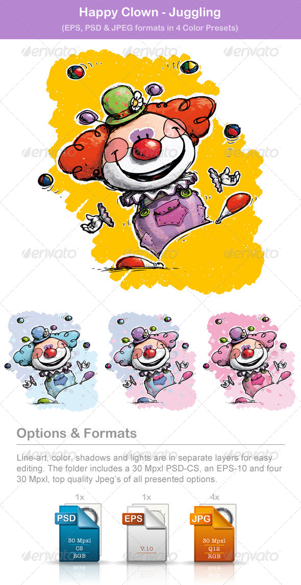GraphicRiver Happy Clown Juggling 8591956