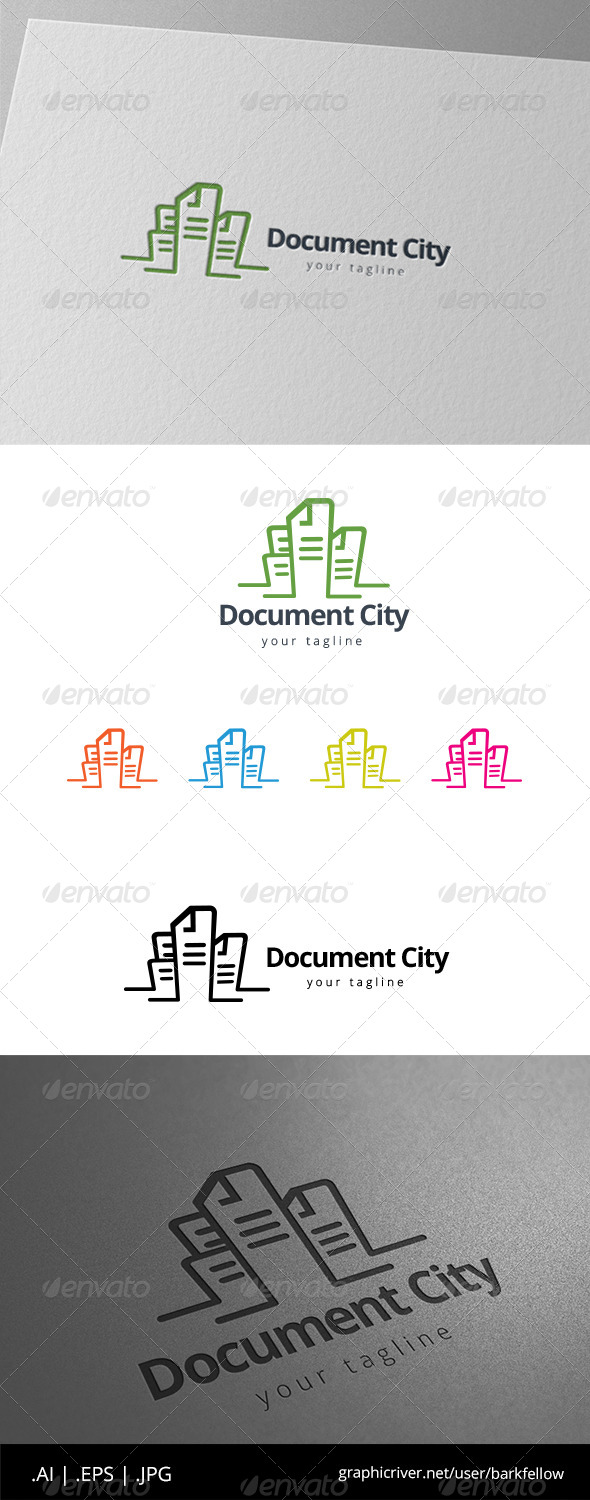 GraphicRiver Paper Document City Tower Building Logo 8592138