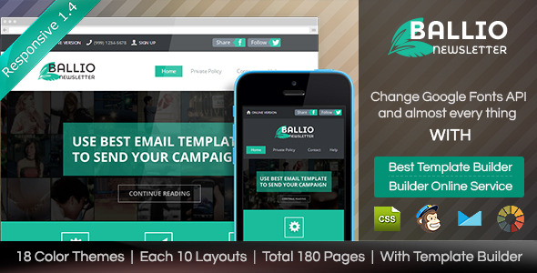 BALLIO-Flat Responsive Email With Template Builder