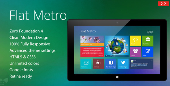Flat Metro - Responsive Drupal Theme Download