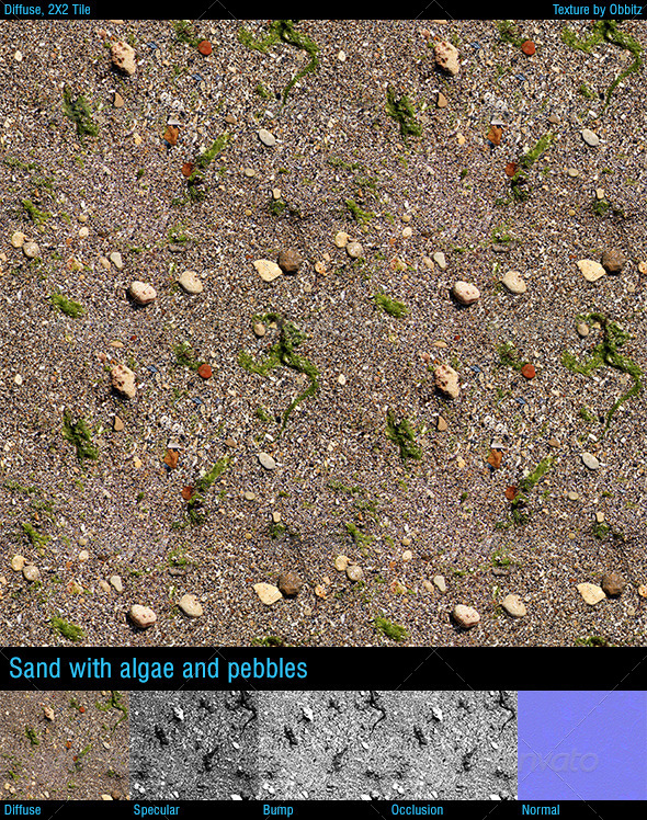 3DOcean Sand with algae and pebbles 8592281