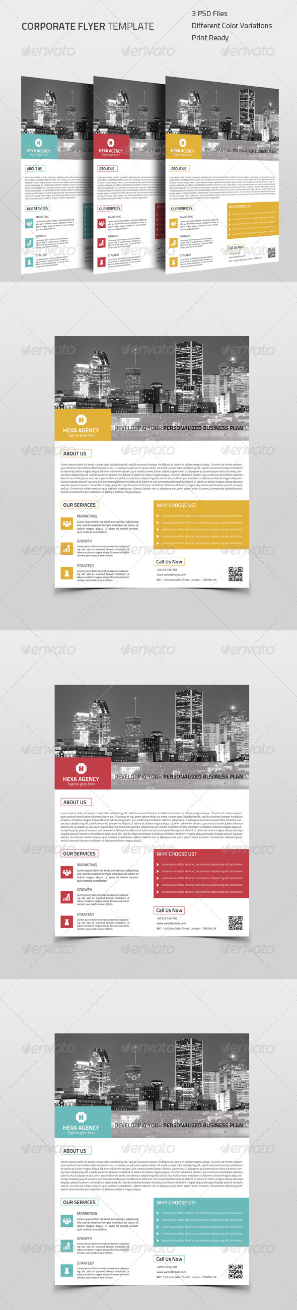 GraphicRiver Flat Style Corporate Flyer 8592289