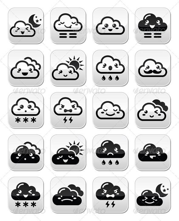 GraphicRiver Kawaii Clouds 8592308