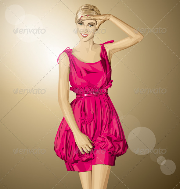GraphicRiver Vector Surprised Blonde in Pink Dress 8592490