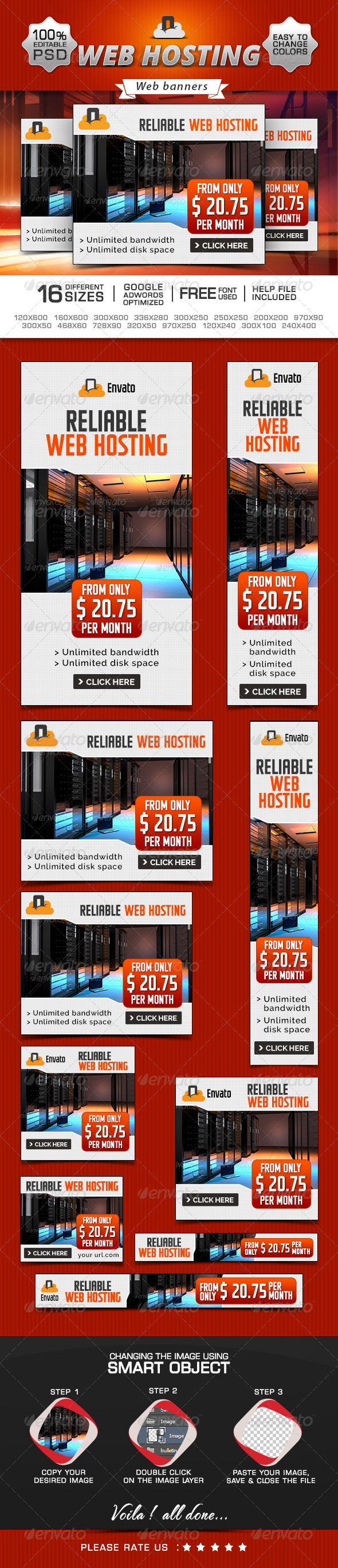 GraphicRiver Web Hosting Promotional Banners 8592607