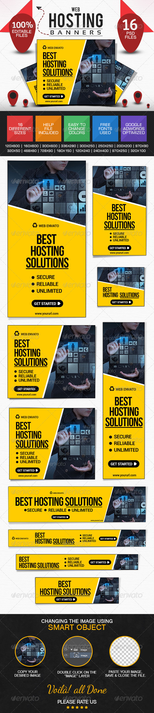 GraphicRiver Web Hosting Banners 8592666