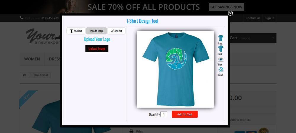 custom product and t shirt design for prestashop