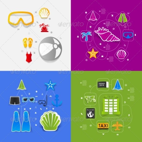 GraphicRiver Set of Summer Tourism Icons 8594920