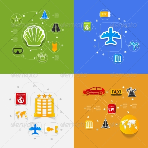 GraphicRiver Set of Summer Tourism Icons 8594924