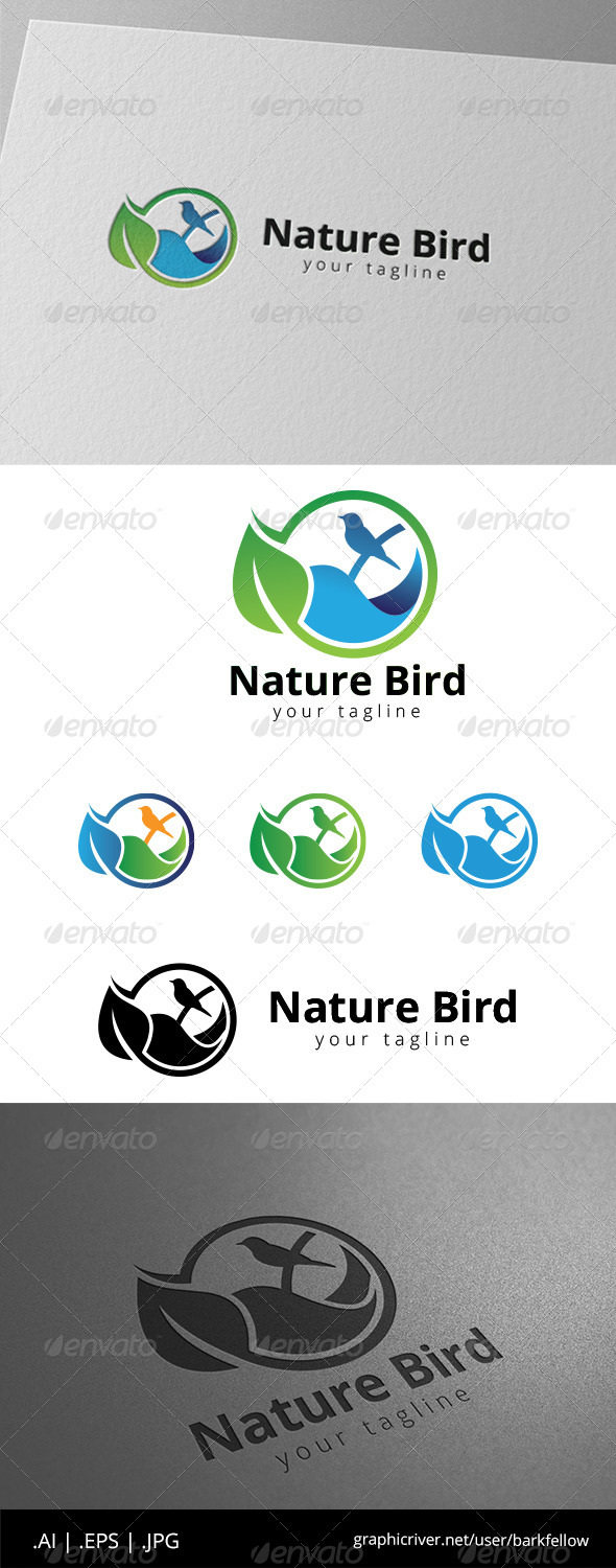 GraphicRiver Leaf Green Bird Water Logo 8594978