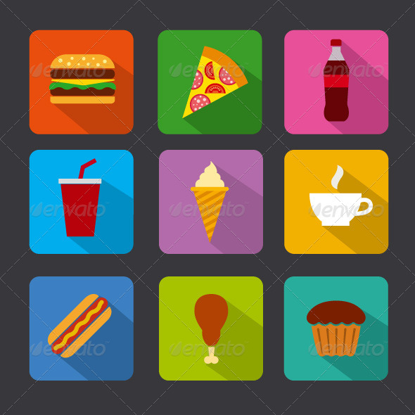 GraphicRiver Fast Food Icon Set 8596077