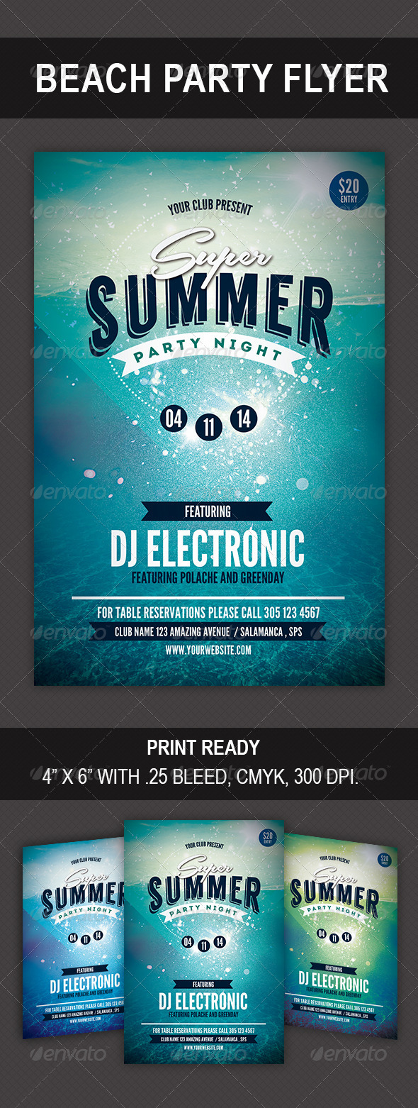 GraphicRiver Super Summer Party Flyer 8596676