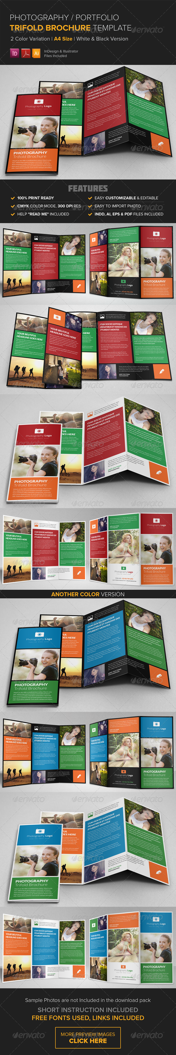 GraphicRiver Photography Portfolio Trifold Brochure Template 8597068