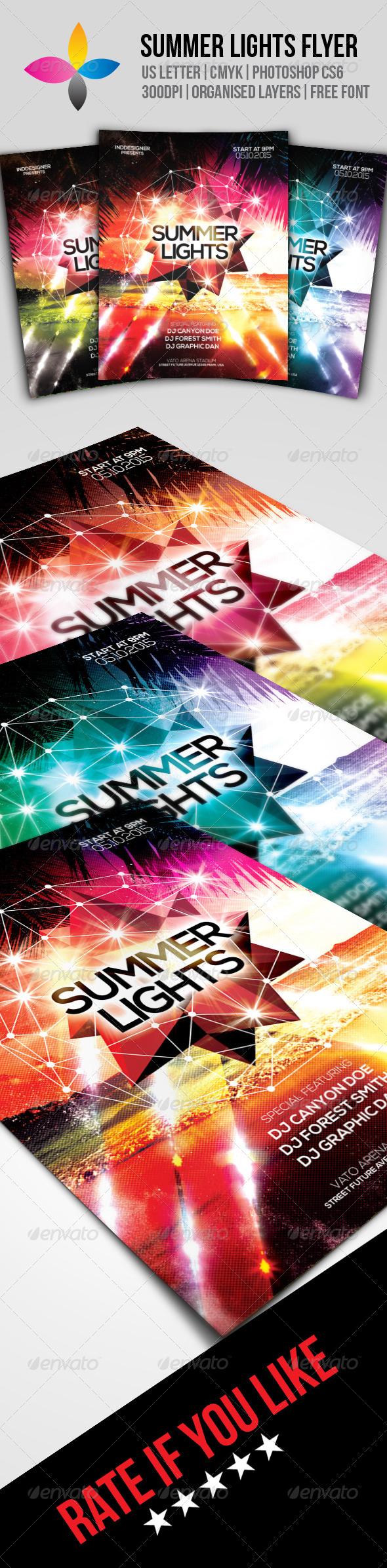 GraphicRiver Summer Lights Flyer 8590558