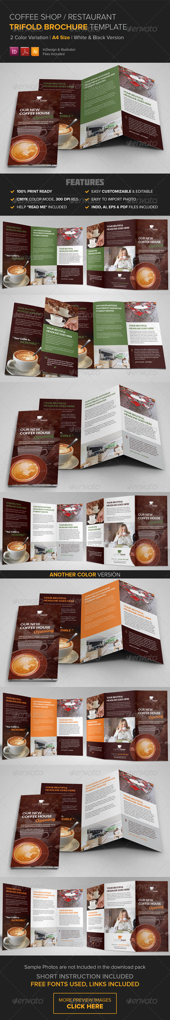 GraphicRiver Coffee Shop Restaurant Trifold Brochure Template 8597321