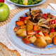 oven baked meat with potatoes, and watercress salad - PhotoDune Item for Sale