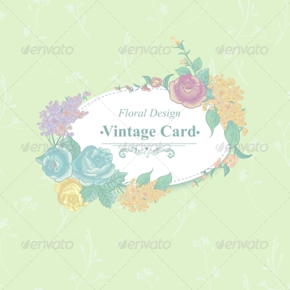 GraphicRiver Vintage Greeting Card with Wildflowers 8597372