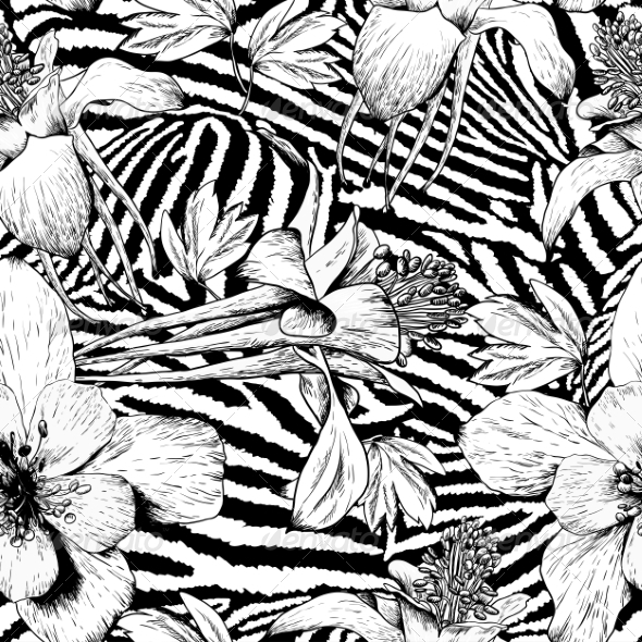 GraphicRiver Monochrome Seamless Vintage Flower Pattern 8597637