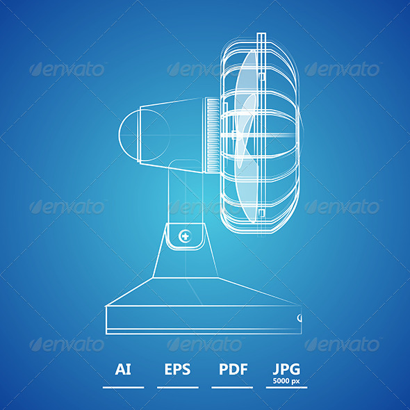 GraphicRiver Outline Illustration of Fan 8597723