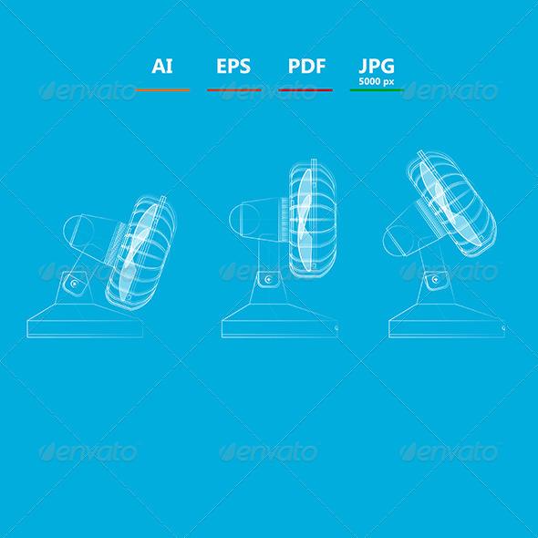 GraphicRiver Outline Illustrations of Fans 8597726