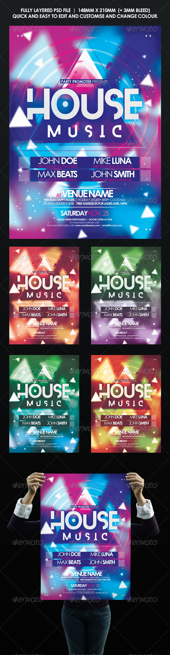 GraphicRiver House Music Event Flyer Poster 8597758