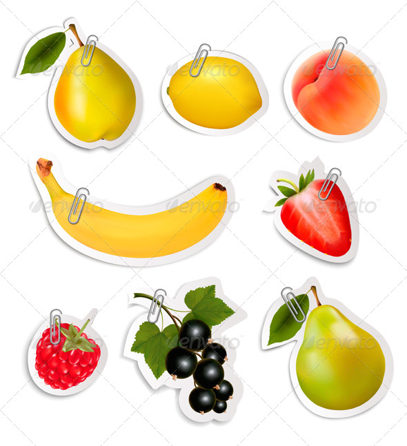 GraphicRiver Set of Flat Fruit Stickers with Paper Clips 8597933