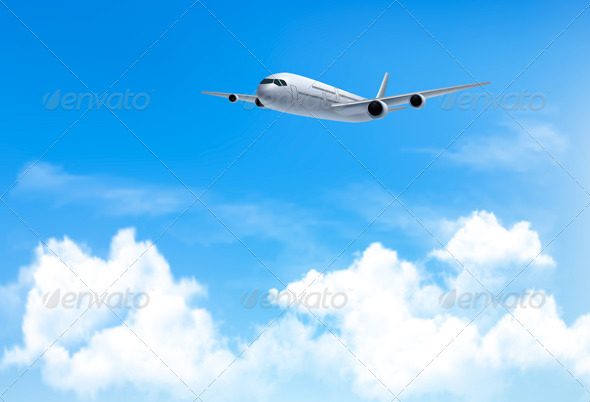 GraphicRiver Travel Background with an Airplane and Clouds 8597937