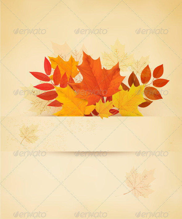 GraphicRiver Retro Autumn Background with Colorful Leaves 8597956