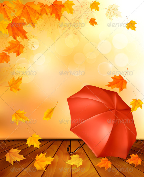 GraphicRiver Retro Autumn Background with Colorful Leaves 8597965