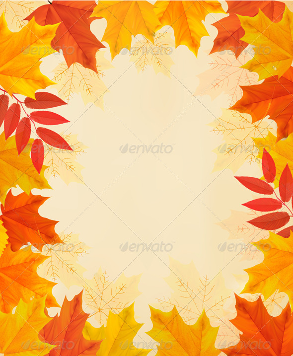 GraphicRiver Retro Autumn Background with Colorful Leaves 8597966