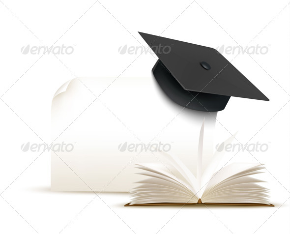 GraphicRiver Graduation Cap with a Book 8597967