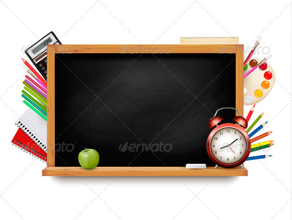 GraphicRiver Back to School Blackboard with School Supplies 8597969