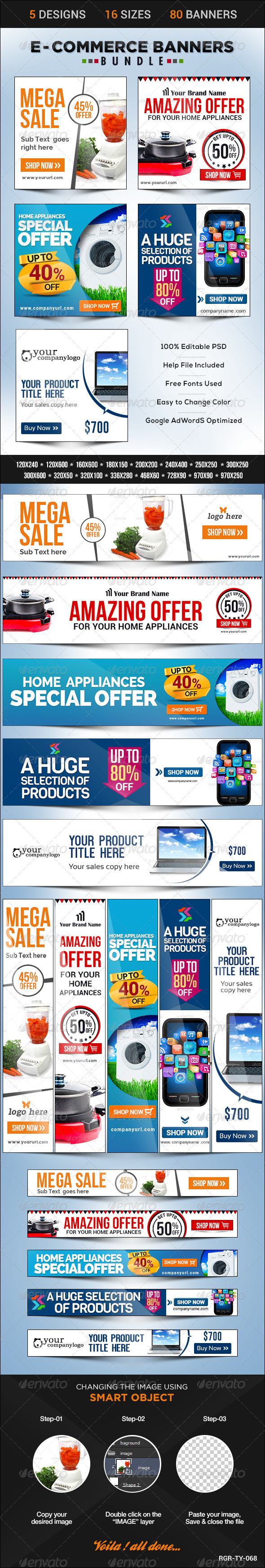 GraphicRiver E-Commerce Banner Bundle 5 sets 8598116