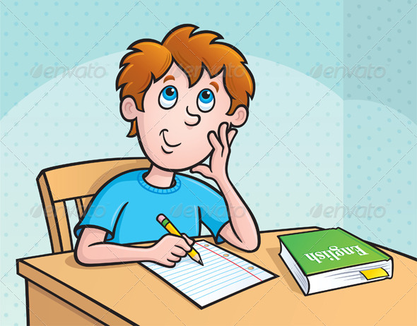 GraphicRiver Kid Thinking What To Write 8598241
