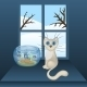 Cartoon White Cat and Aquarium with Fishes - GraphicRiver Item for Sale