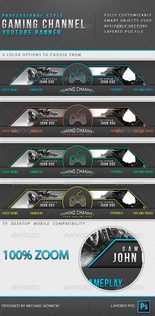 GraphicRiver Gaming Channel Youtube Banner 8598624