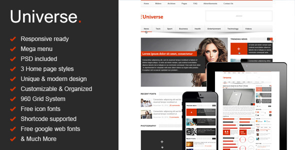 ThemeForest Universe Responsive HTML5 Magazine News Blog 8566119