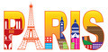 Paris City Eiffel Tower Silhouette Text Color Illustration - PhotoDune Item for Sale