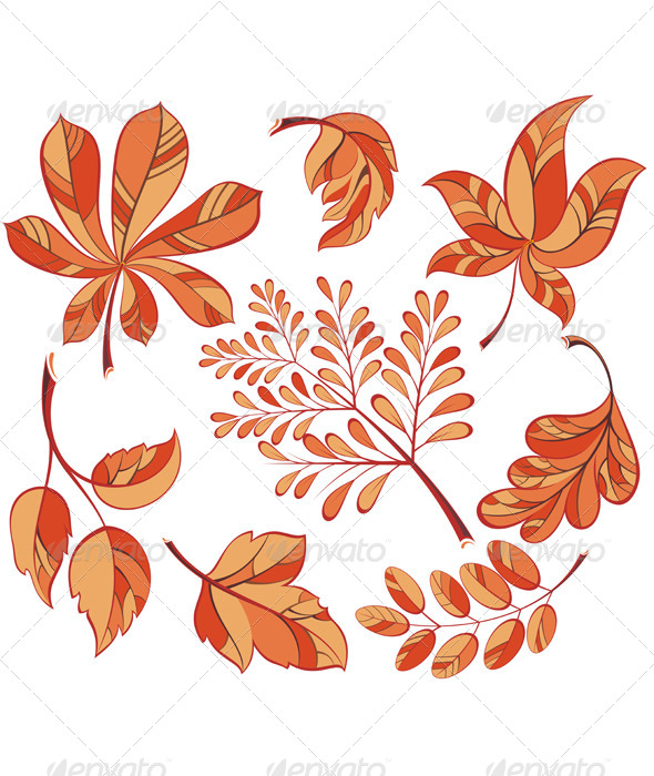 GraphicRiver Collection Beautiful Colourful Autumn Leaves 8600758