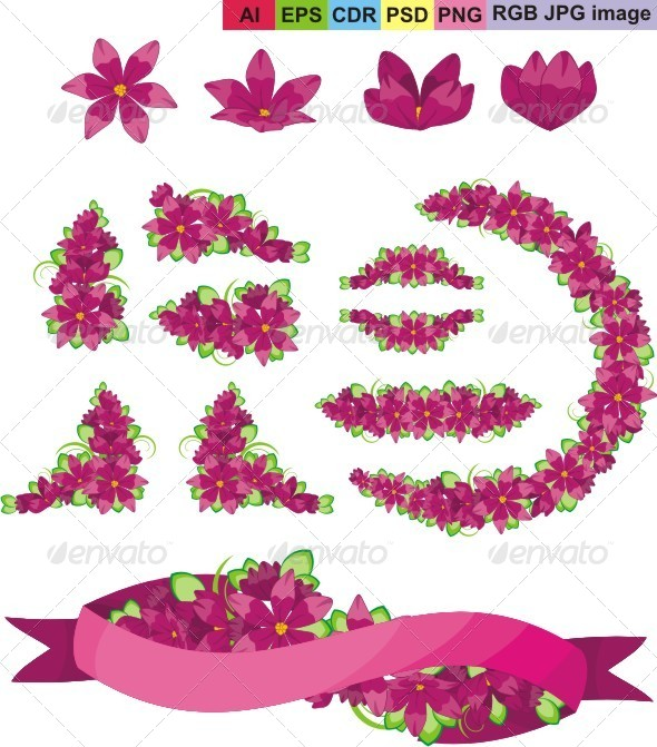 GraphicRiver Set of Purple Flowers and Ribbon 8600906