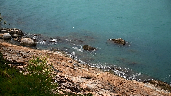 Rocky Shore and Blue Sea