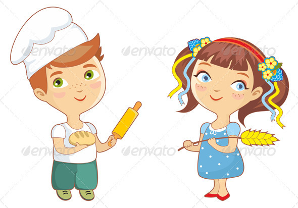 GraphicRiver Baker Children Boy and Girl 8603085