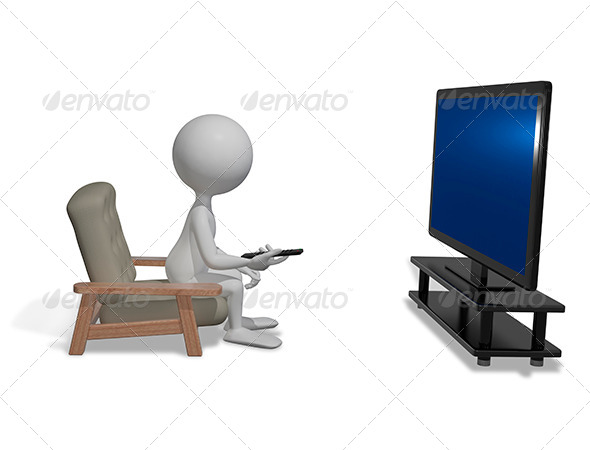GraphicRiver Man in Front of TV 8603180