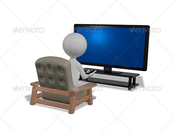 GraphicRiver Man in Front of TV 8603196