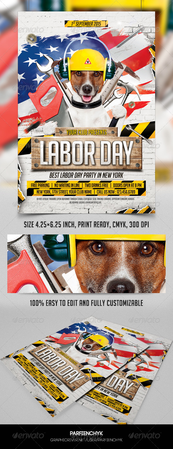 GraphicRiver Labor Day Party Flyer Template 8603234