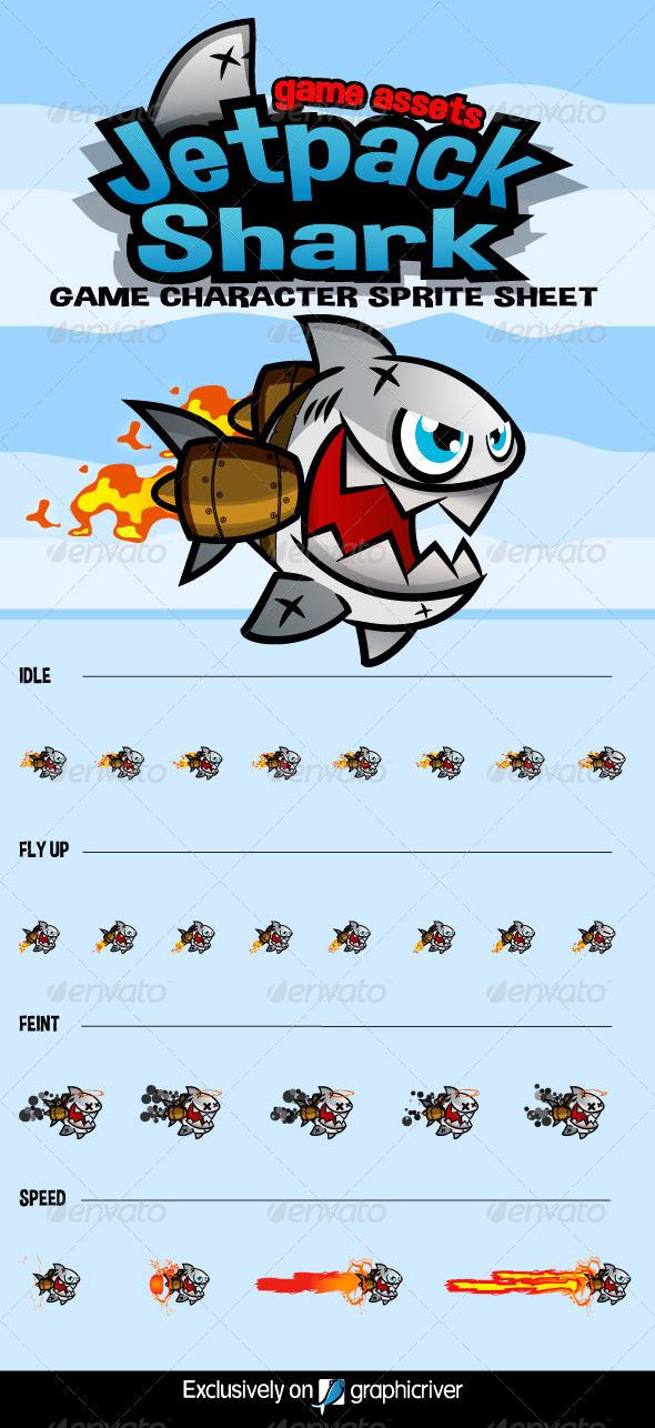 GraphicRiver Jetpack Shark Character Sprite 8603269