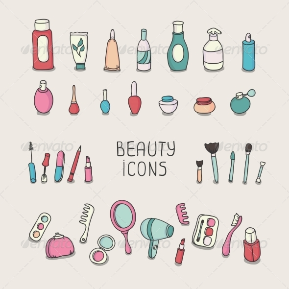 GraphicRiver Set of Vintage Cosmetics and Beauty Products 8603288