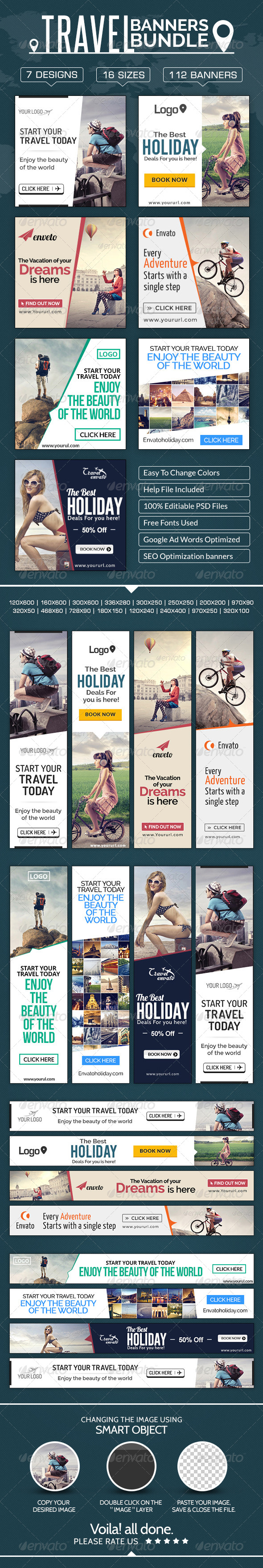 GraphicRiver Travel Banners Mega Bundle 7 sets 8603590