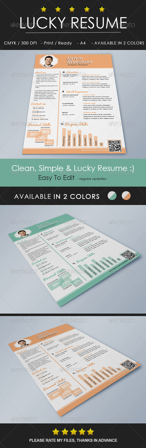 print template graphicriver lucky resume 8585724